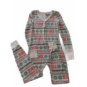 Pink VS Holiday Fair Isle Thermal Pajama Onesie